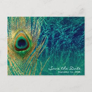 Peacock Feather Blue Teal Gold Glam Save the Date Announcement Postcard