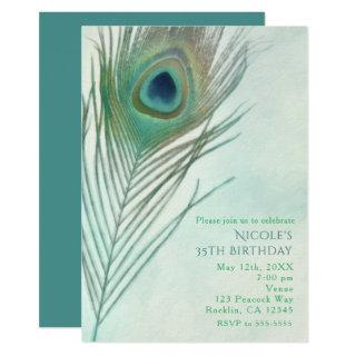 Peacock Feather Boho Chic Watercolor Invitations