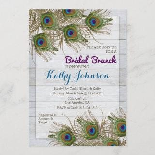 Peacock Feather Bridal Shower Brunch Invitations