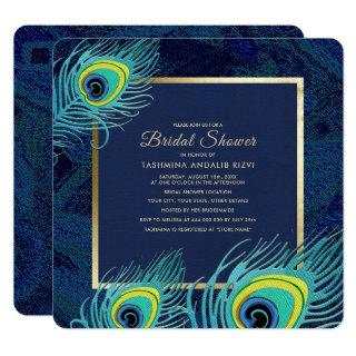 Peacock Feather Design Bridal Shower Invitations