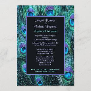 Peacock Feather Drama - Wedding Invitations