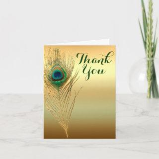 Peacock Feather Gold Exotic Boho Chic Thank You