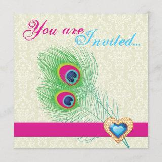 Peacock feather jewel heart wedding invitation