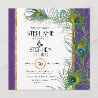 Peacock Feather Modern Typography Indian Weddings Invitation