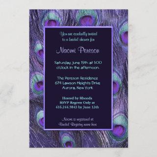 Peacock Feather Purple Drama - Bridal Shower Invitations