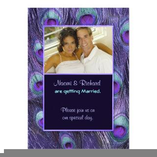 Peacock Feather Purple - Photo Wedding Invitations