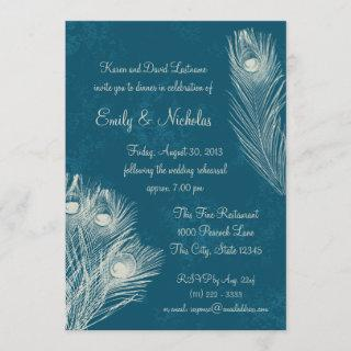 Peacock Feather Rehearsal Dinner Invitations