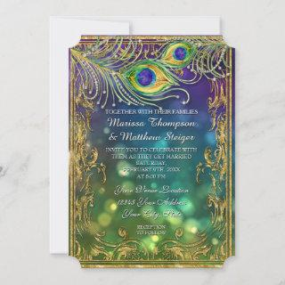 Peacock Feather Wedding Antique Vintage Mask Bokeh Invitation