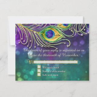 Peacock Feather Wedding Gold Glitter Jeweled RSVP
