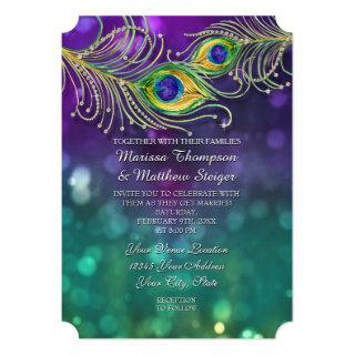 Peacock Feather Wedding Jeweled Feathers Bokeh Invitation