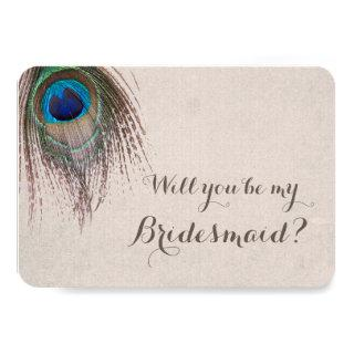 Peacock Feather Will You Be My Bridesmaid Invitations