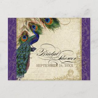 Peacock & Feathers Formal Bridal Shower Purple Invitation Postcard