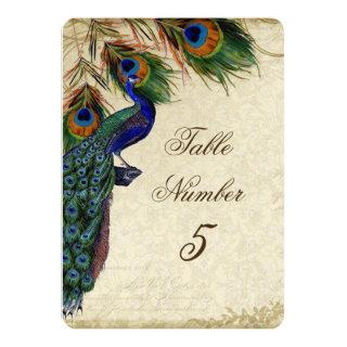 Peacock & Feathers Formal Wedding Table Number 5