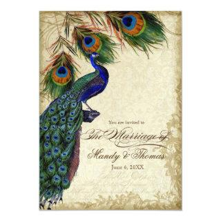 Peacock & Feathers Formal Wedding Tea Stained Invitations