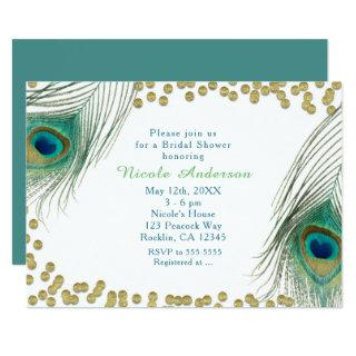 Peacock Feathers & Gold Dots Boho Glam Invitations