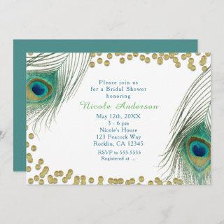 Peacock Feathers & Gold Dots Boho Glam