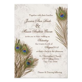 Peacock Feathers Wedding Invitations
