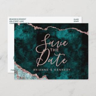 Peacock Green Rose Gold Agate Marble Save the Date Announcement Postcard