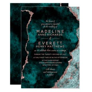 Peacock Green & Rose Gold Foil Agate Wedding Invitations