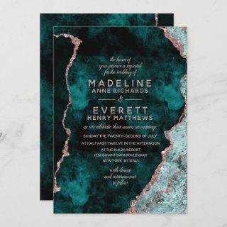 Peacock Green & Rose Gold Foil Agate Wedding Invitation