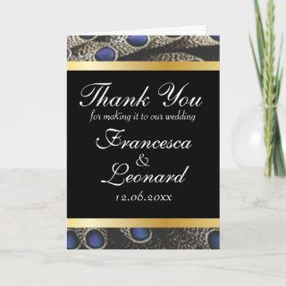 Peacock Pattern and Gold Bands Thank You Card