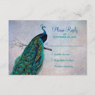 Peacock RSVP Wedding Response Card Vintage Blue