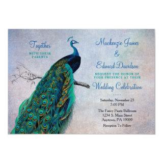 Peacock Wedding Invitations Vintage Blue Elegant