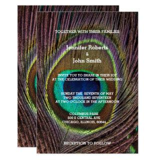 Peacock Weddings Exotic Feather Add Your Photo Invitations