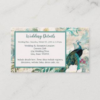 Peacocks and Flowers Teal, Ivory, and Gold Wedding Enclosure Card