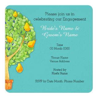 Pear Tree teal Square Engagement Invitations