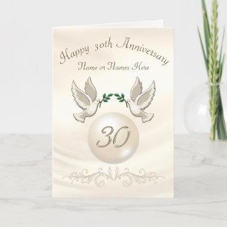 Pearl 30th Wedding Anniversary Cards, Personalized Card