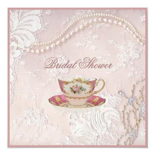 Pearl Blush pink lace bridal Tea Party Invitations