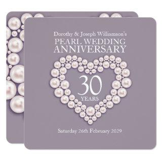 Pearl wedding anniversary 30 years party invites