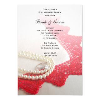 Pearls, Ring, Red Vintage Lace Post Wedding Brunch Invitation