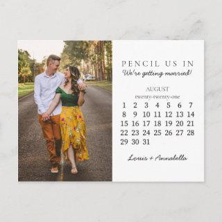 Pencil Us In Save the Date August 2021 Calendar Postcard