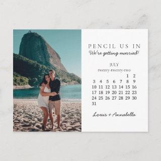 Pencil Us In Save the Date July 2022 Calendar Postcard