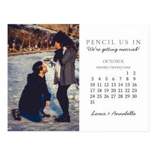 Pencil Us In Save the Date October 2021 Calendar Postcard