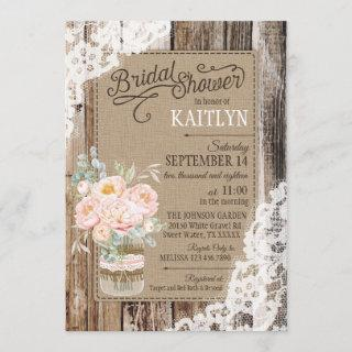 Peony Floral Wood Lace Rustic Bridal Shower Invitations