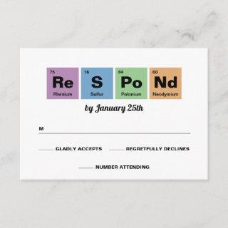 Periodic Table of the Elements Wedding RSVP Card