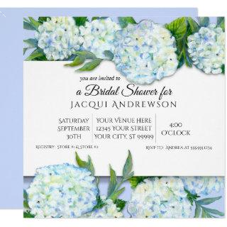 Periwinkle n White Hydrangeas Floral Bridal Shower Invitations