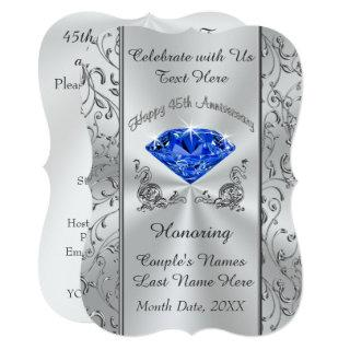 Personalized 45th Wedding Anniversary Invitations