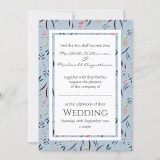 Personalized Dusty Blue Floral WEDDING Invitations