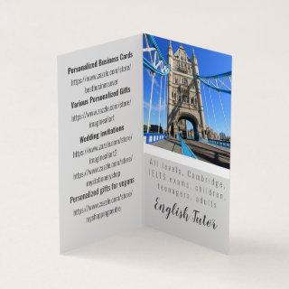 Personalized English Tutor folded business card