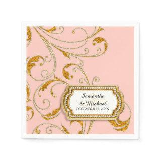 Personalized Glam Old Hollywood Regency Black Tie Paper Napkins