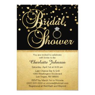 Personalized Gold Black Diamond Ring Bridal Shower Invitations