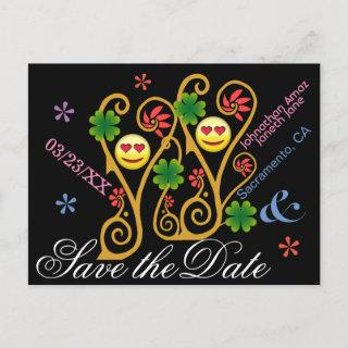 Personalized Happy Garden Save the Date Announcement Postcard