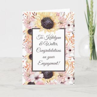 Personalized Message Sunflower Engagement Card