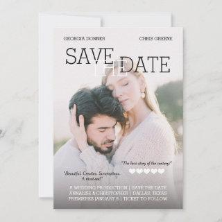 Personalized Movie Poster Hearts Save the Date