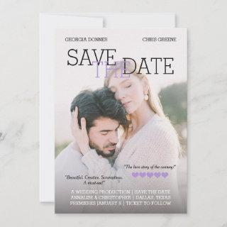 Personalized Movie Poster Purple Save the Date