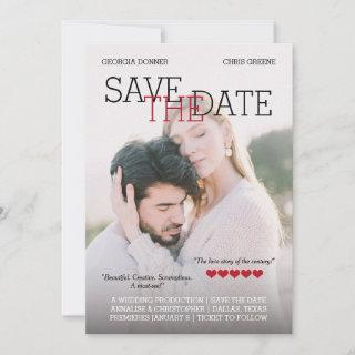 Personalized Movie Poster Red Hearts Save the Date
